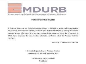 Inscrições Erroneamente Indeferidas – Processo Seletivo EMDURB 001/2013