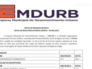 Listagem das Notas da Primeira Fase do Processo Seletivo EMDURB 001/2013