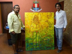 Artista colombiano presenteia prefeitura com quadro O Pescador