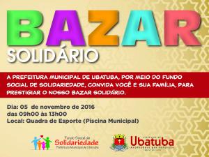 Bazar Solidário  acontece sábado em frente ao Tubão