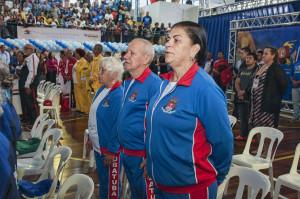 Atletas de Ubatuba na cerimônia de abertura do JORI