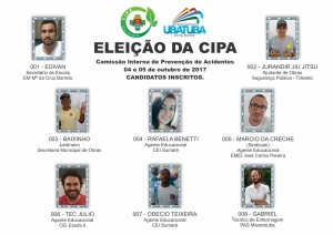 Cartaz com candidatos - Eleição CIPA 2017