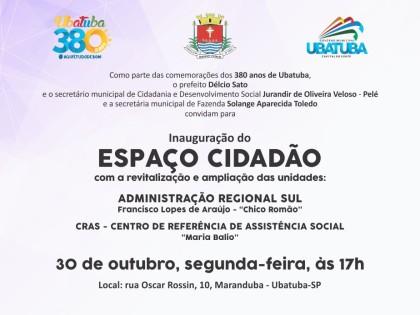 População é convidada a participar da inauguração de Espaço Cidadão no sul de Ubatuba