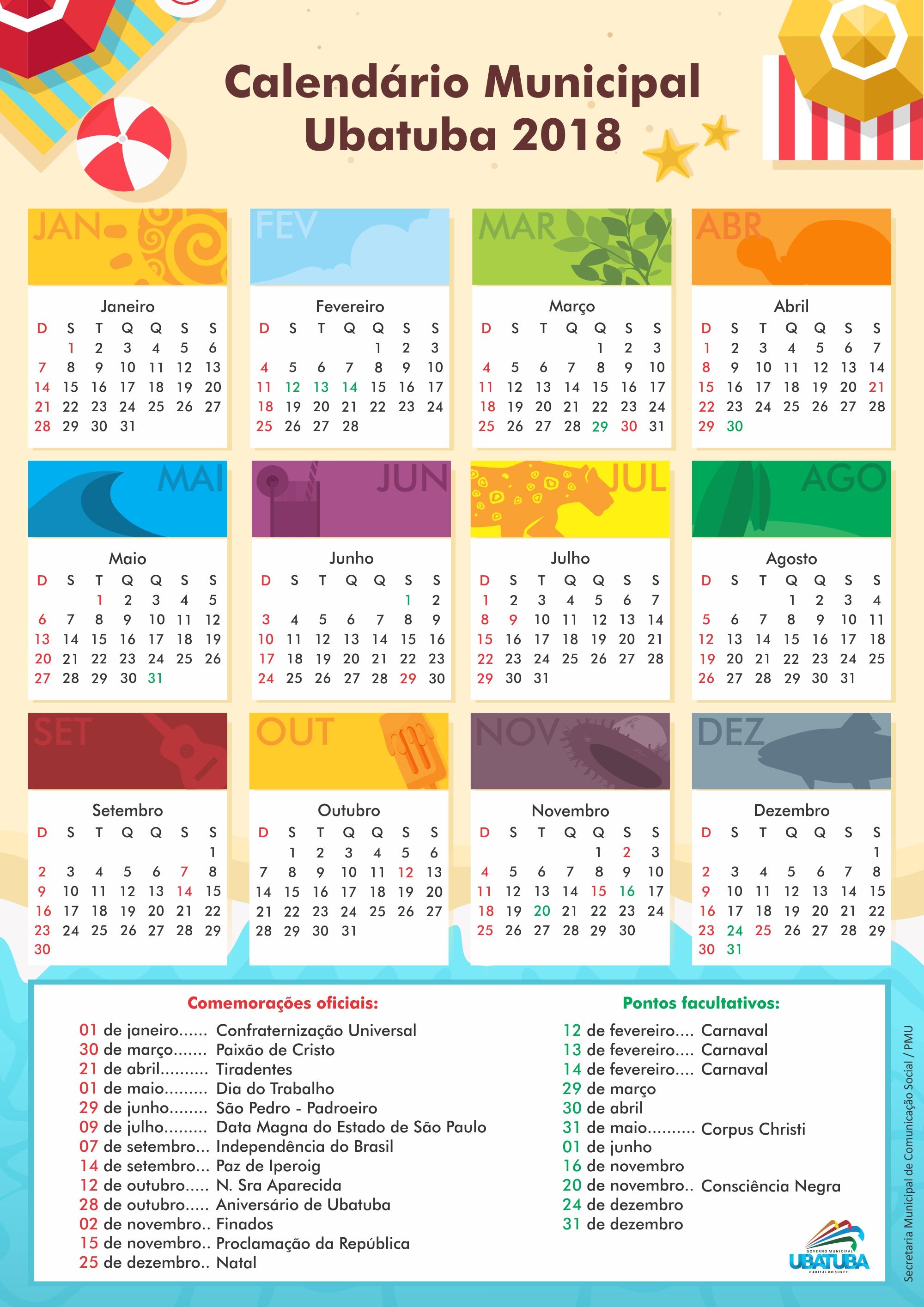 Calendario.Calendario Municipal Para 2018 Prefeitura Municipal De Ubatuba