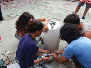 Alunos do Tancredo desenvolvem sistema de captação de água da chuva