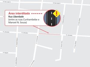 Comunicado: rua Liberdade está parcialmente interditada