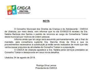 Nota CMDCA