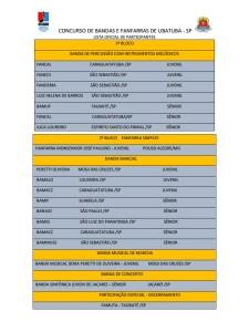 Lista oficial dos inscritos no concurso de Fanfarras