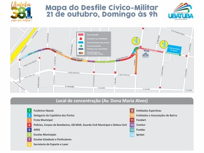 Confira região que ficará interditada para desfile de aniversário no domingo, 21