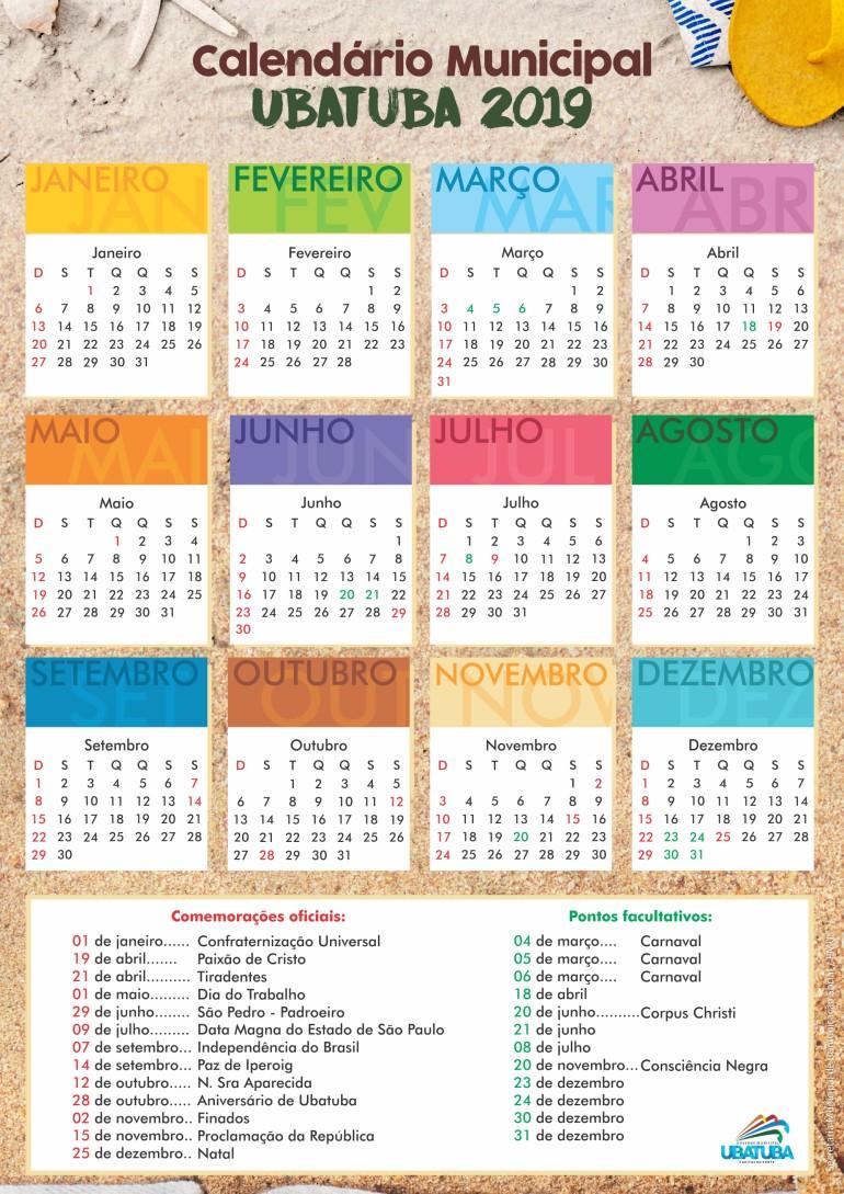 Calendario.Calendario Municipal 2019 Prefeitura Municipal De Ubatuba