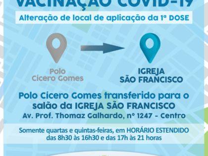 Vacinação contra a Covid-19: polo Cícero Gomes é transferido para a Igreja São Francisco
